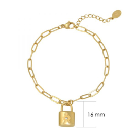 Schakelarmband met slotje 'Little Lock' goud