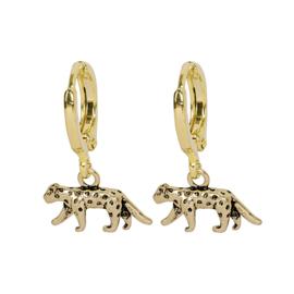 Oorbellen met hanger luipaard 'Lucky Leopard' goud