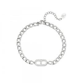 Zilveren schakelarmband met zirkonium steentjes 'Jane'