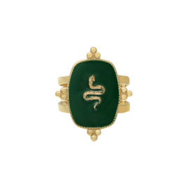 Statement ring 'Snake' groen/goud