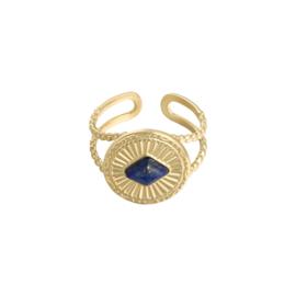 Ring 'Charlotte' blauw/goud