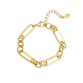 Gouden armband met grote schakels 'Funky Chain'