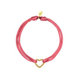 Satijnen armband met hart - Rood