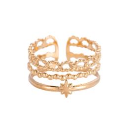 Ring met drie lagen 'Poppy' goud