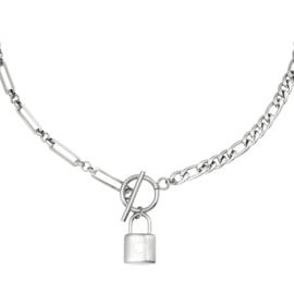 Schakelketting met slotje 'Chain & Lock' zilver