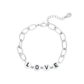 Schakelarmband met letterkralen 'Love' zilver