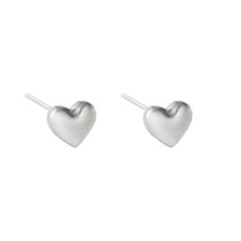 Oorknopjes met hart 'Love' zilver