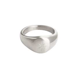 Zegelring met ster 'Star Of The Night' zilver