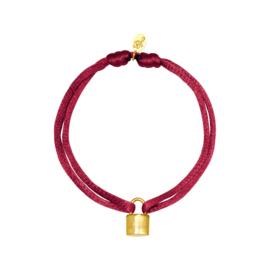 Satijnen armband met slotje - rosé/goud