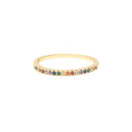 Ring met kleine steentjes 'Claire' multi/goud