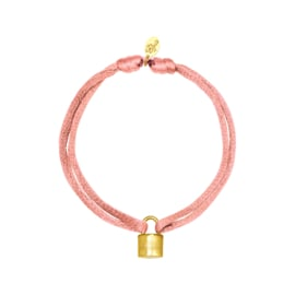 Satijnen armband met slotje - Lichtroze