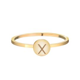 Ring met letter X 'X' goud