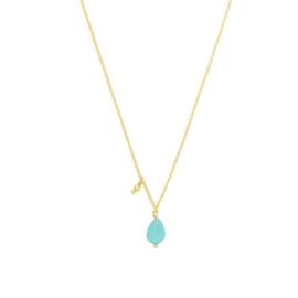 Ketting met steen 'Funky Stone' turquoise/goud