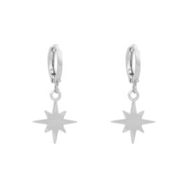 Oorbellen met hanger ster 'Universe Star' zilver