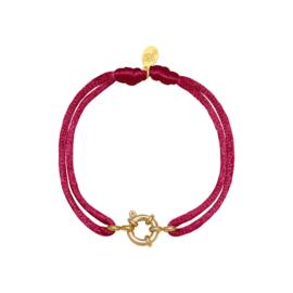 Satijnen armband met tussenstuk - rosé/goud