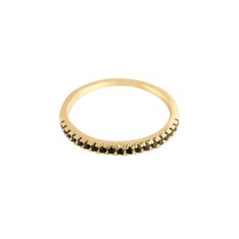 Ring met kleine steentjes 'Claire' zwart/goud
