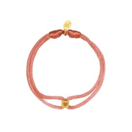 Satijnen armband met cube hart - roze/goud
