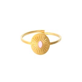 Ring met baby roze detail 'Kate' goud