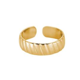 Minimalistische ring met streepjes 'Fem' goud
