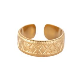 Ring met patroon 'Dahlia' goud