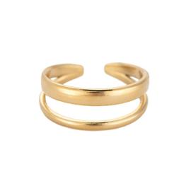 Ring met twee lagen 'Charlotte' goud