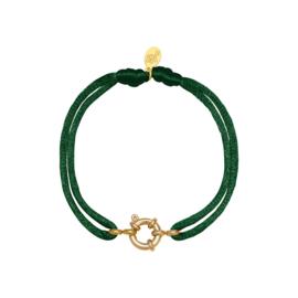 Satijnen armband met tussenstuk - groen/goud