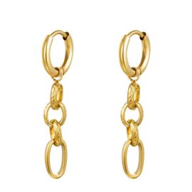 Gouden oorbellen met vier ringen 'Sophie'