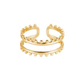 Ring met twee lagen 'Mae' goud