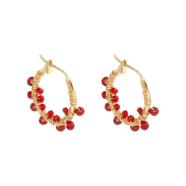 Oorbellen 'Colorful Crystal Beads' rood