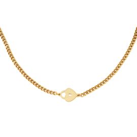 Gouden ketting met hart 'Locked Heart'