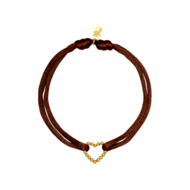 Satijnen armband met hart - bruin/goud