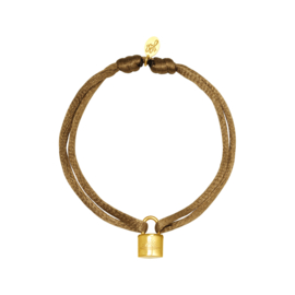Satijnen armband met slotje - beige/goud