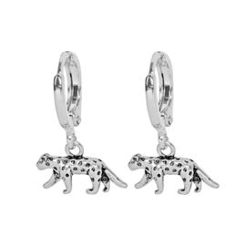Oorbellen met hanger luipaard 'Lucky Leopard' zilver