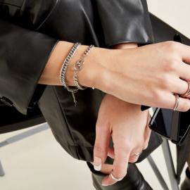 Gouden schakelarmband met ringen 'Alice'