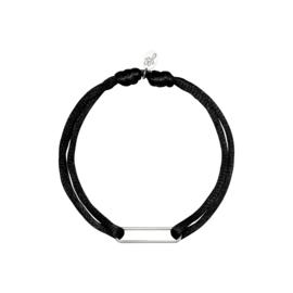 Satijnen armband met clip - zwart/zilver