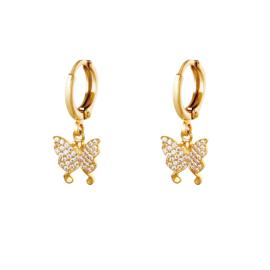 Gouden oorbellen met vlinder 'Mila'