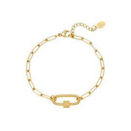 Gouden schakelarmband met tussenstuk 'Mia'