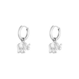 Oorbellen 'Elephant' zilver
