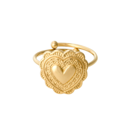 Ring met hart 'True Love' goud