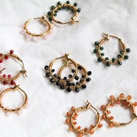 Oorbellen 'Colorful Crystal Beads' wit