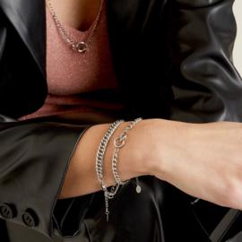 Zilveren schakelarmband met brede schakel 'Judy'