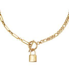Schakelketting met slotje 'Chain & Lock' goud