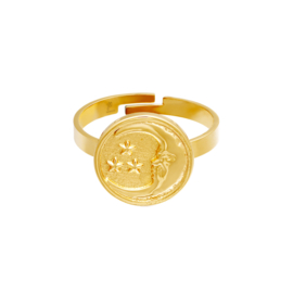 Ring met maan 'Glowing Moon' goud