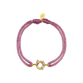 Satijnen armband met tussenstuk - paars/goud