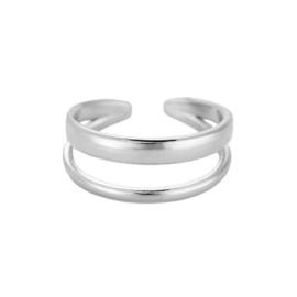 Ring met twee lagen 'Charlotte' zilver