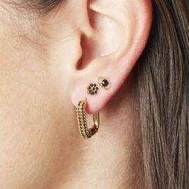Rechthoekige oorbellen 'Bobby' goud