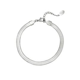 Platte armband met geweven patroon 'Tess' zilver