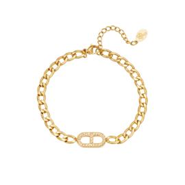 Gouden schakelarmband met zirkonium steentjes 'Jane'