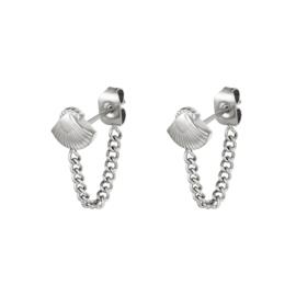 Zilveren oorbellen met ketting en schelpje 'Yasmina'