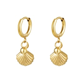 Gouden oorbellen met schelp 'Loua'
